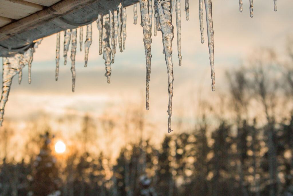 frozen drain icicles